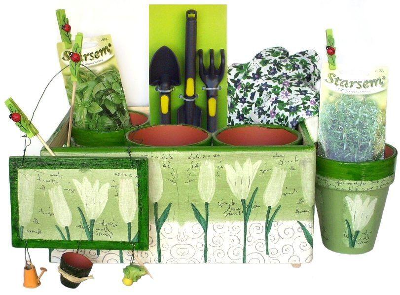 Set gradinarit: manusi, unelte, ghivece, cutie unelte, markere, seminte