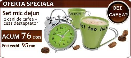 Set mic dejun - 2 cani de cafea + ceas desteptator
