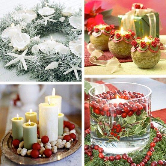 Aranjamente decorative cu lumanari pentru Craciun