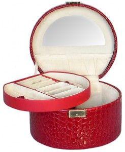 caseta rosie de bijuterii