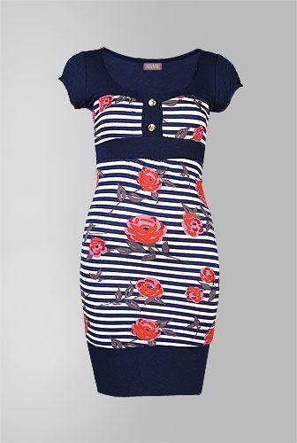amafashion bluza rochie cu dungi si imprimeu trandafiri