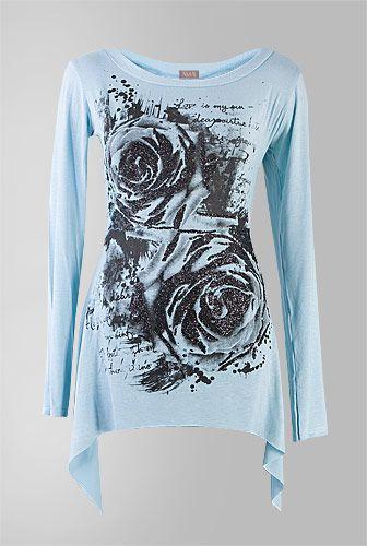 amafashion bluza rochie turcoaz cu imprimeu trandafir