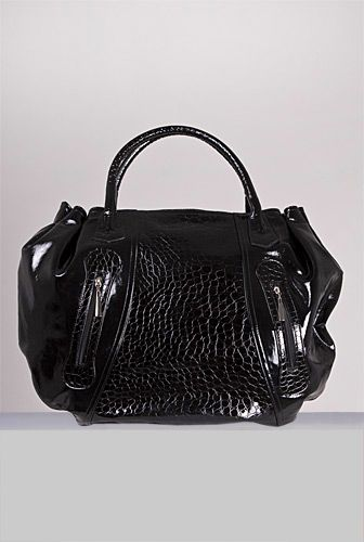 geanta neagra piele croco - 390 ron