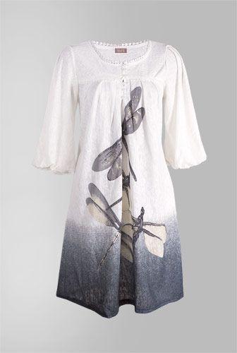 amafashion rochie alba cu imprimeu libelula