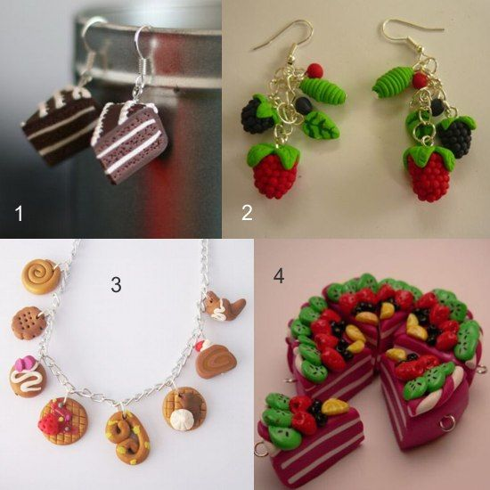 Bijuterii handmade pe Breslo - dulciuri, fructe si prajituri