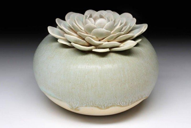 Vaza ceramica lotus, verde