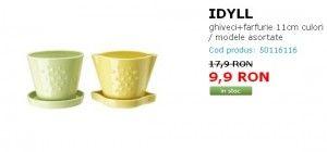 IDYLL ghiveci+farfurie 11cm culori asortate