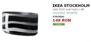 IKEA STOCKHOLM vaza 20cm oval negru / alb