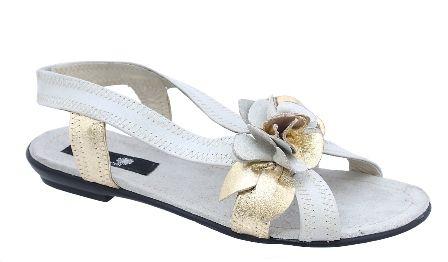 Sandale piele naturala, cu flori
