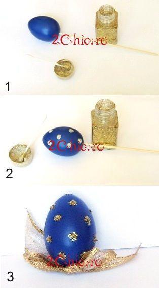 Ou albastru cu glitter