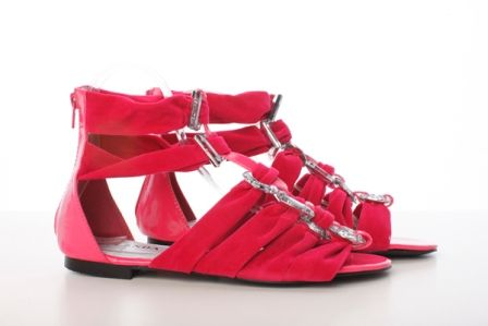 Sandale fucsia din material satinat