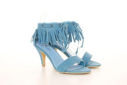 Sandale din piele intoarsa ecologica cu tocul comod