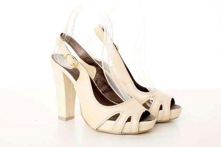 Sandale crem din piele ecologica, cu toc lat