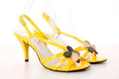Sandale galbene din piele ecologica