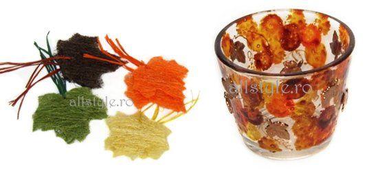 Decoratiuni de toamna: suporturi lumanari, frunze de toamna
