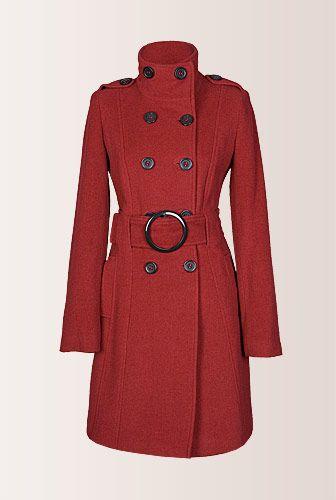 Palton de iarna rosu cu cordon