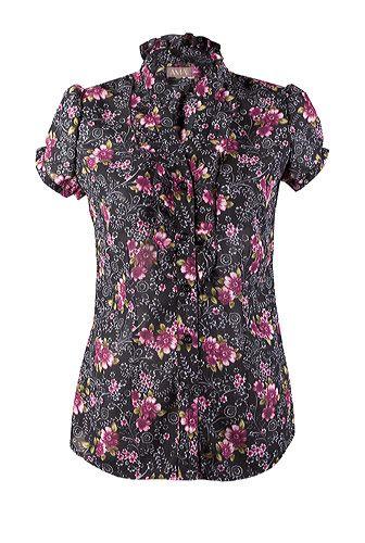 Bluza din voal cu flori marunte roz