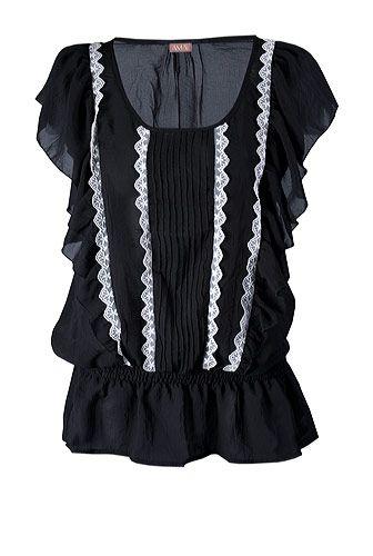 Bluza Ama Fashion din voal, cu volane si dantela