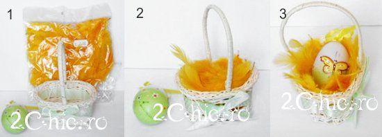 Cuiburi de oua de Paste cu pene si iarba