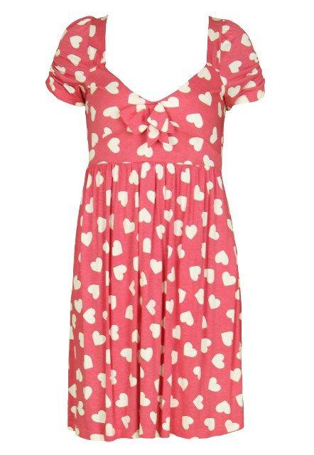 Rochie Zara rosie cu ininioare alba