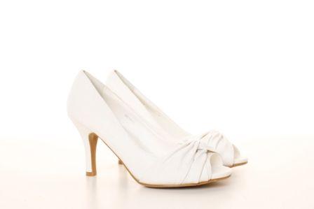 Pantofi albi de mireasa din piele ecologica