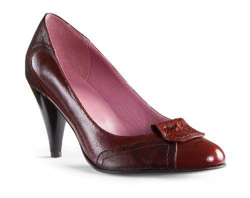 pantof cu toc din piele naturala lacuita