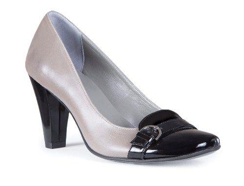 Pantof cu toc mediu gros din piele naturala