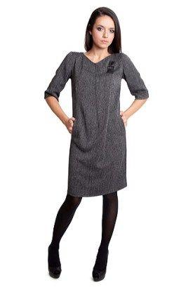 Rochie din stofa cu pliu asimetric