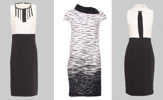 Rochii office Nissa in eleganta combinatie alb-negru