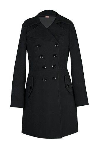 Palton negru matlasat military. CLICK pe poza pentru a cumpara!