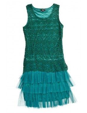 Rochie verde din dantela cu paiete si volane pentru Revelion