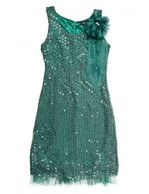 Rochie verde dantela si paiete cu floare decorativa pentru petrecere