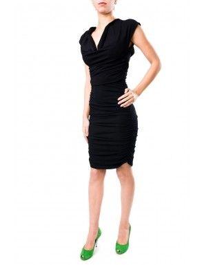 Rochie negra de ocazie fronsata