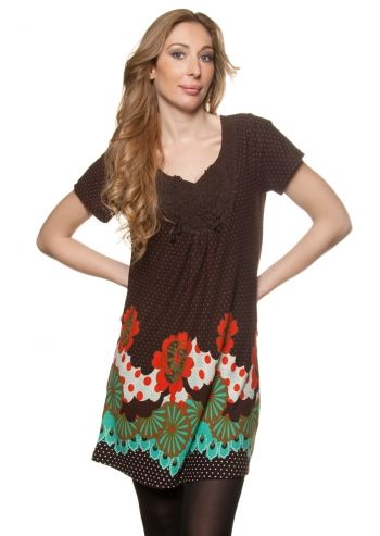 Ada Gatti, Brown Flowers&Dots Dress
