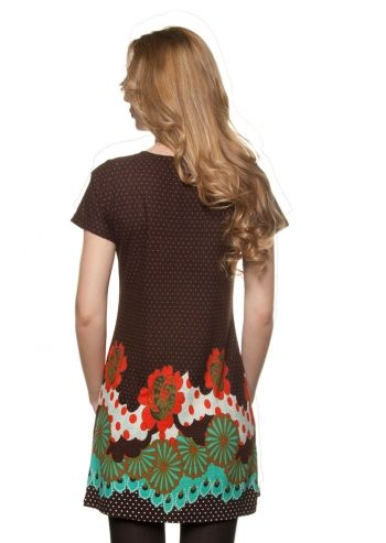 Ada Gatti, Brown Flowers&Dots Dress poza 2