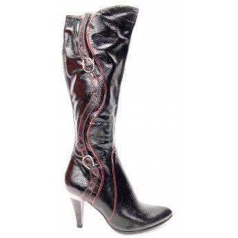 Cizme de dama din piele neagra ecologica cu cusaturi si insertii rosii, toc inalt si bot rotunjit, pret 39,5 lei