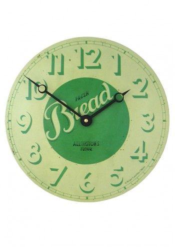 Roger Lascelles, Convex Tin Fresh Bread Design Wall Clock