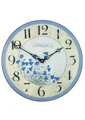 Roger Lascelles, Blue & Ivory Bluebells Wall Clock