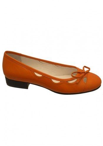 Balerini din piele orange