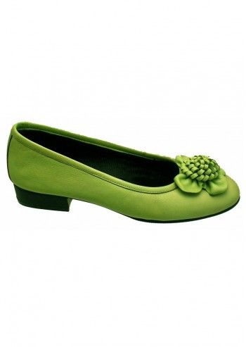 Riva, Beautiful Flower Lime Green Leather Shoes