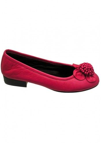 Riva, Beautiful Flower Fuchsia Leather Shoes