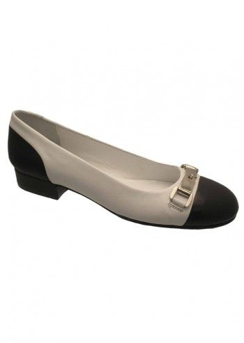 Riva, Posy Black&White Leather Shoes