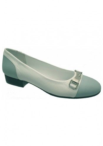 Riva, Posy Light Blue&White Leather Shoes
