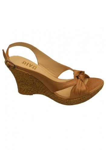 Riva, Caley Camel Leather Wedge Sandals