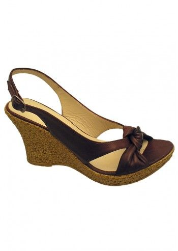 Riva, Caley Dark Brown Leather Wedge Sandals