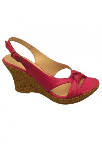 Riva, Caley Fuchsia Leather Wedge Sandals