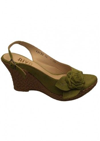 Riva, Fire Rose Lime Green Suede Wedge Sandals