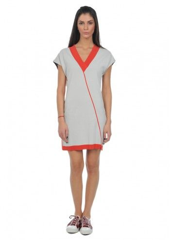 Alexander McQueen Puma, Woman Ash Gray& Orange Aurora Dress