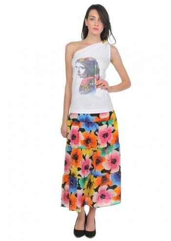 Love Moschino, Woman Portrait White Top and floral Skirt