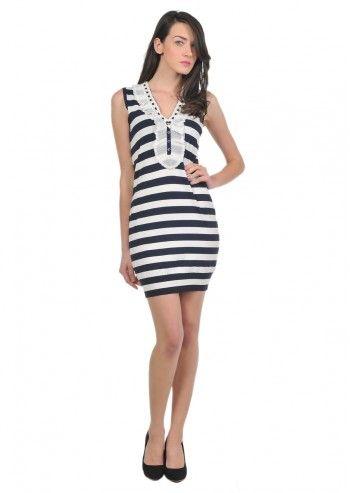 Love Moschino, Woman Stripes White&Navy Blue Dress